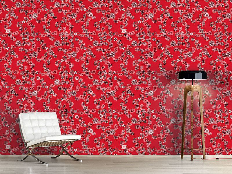 Pattern Wallpaper Paisley In Red