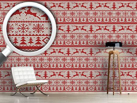 Pattern Wallpaper Knitted Deer Crossing White