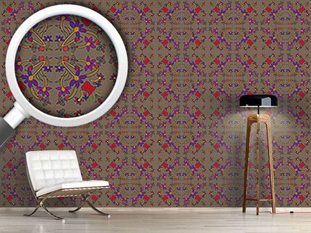Pattern Wallpaper Oriental Flowers