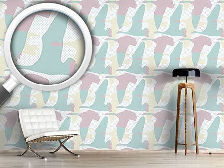 Pattern Wallpaper Flying Goose Pastel