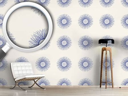 Pattern Wallpaper Sunflower Blue