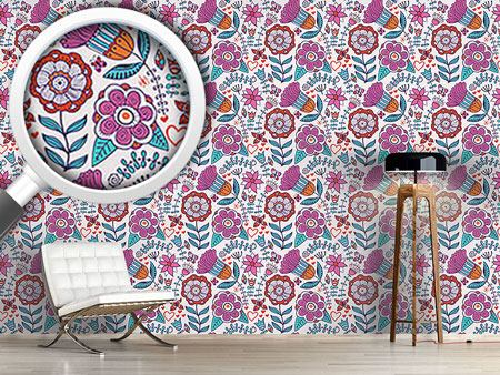 Pattern Wallpaper Flower And Butterfly Greetings
