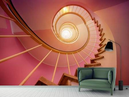 Fototapet Spiral staircase in pink