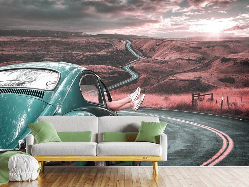 Photo Wallpaper On the road with the classic car