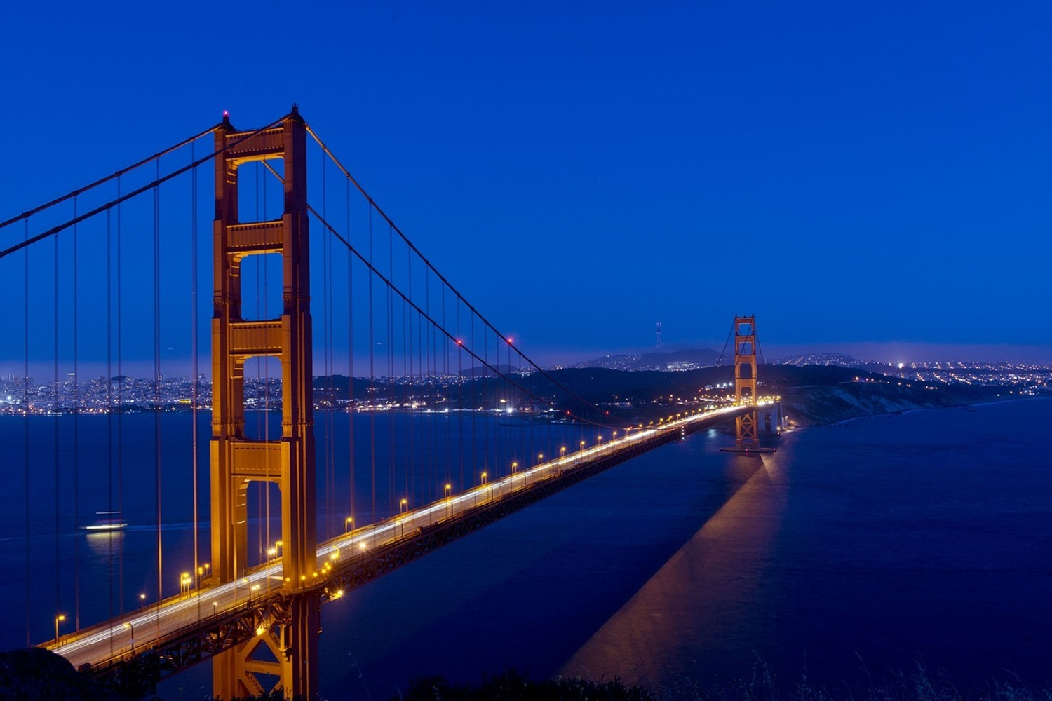 Fototapet Golden Gate at night