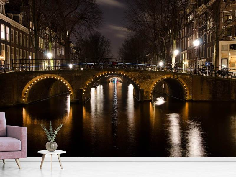 Photo Wallpaper At night in Amsterdam