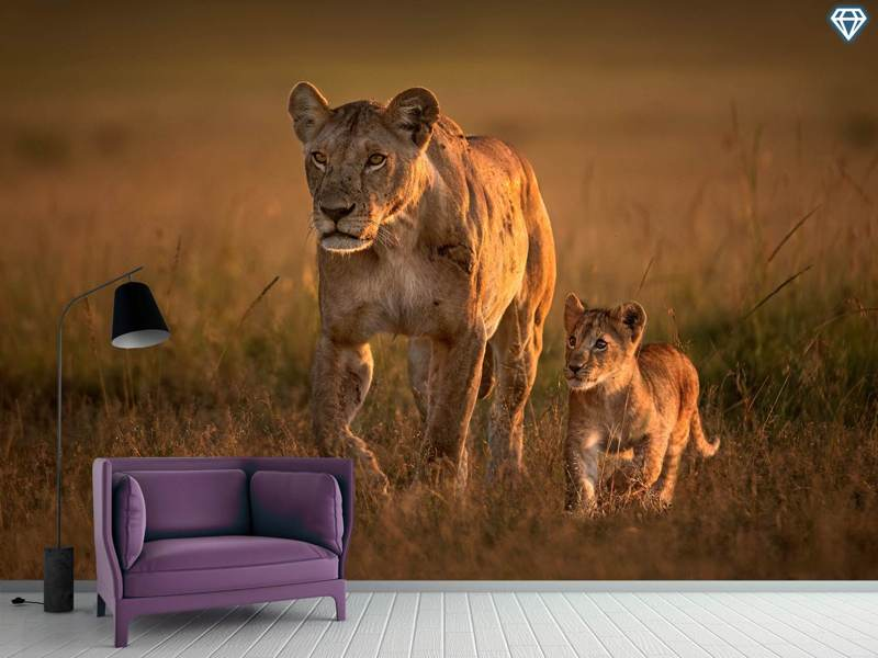 Fototapet Mom Lioness With Cub