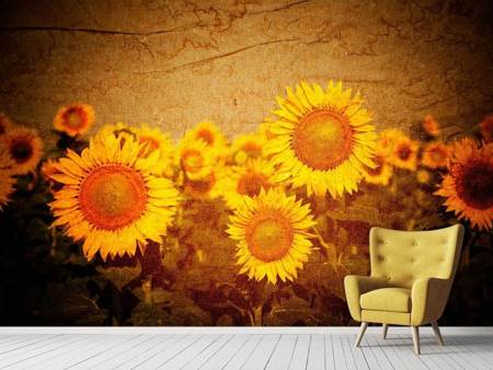 Photo Wallpaper Retro Sunflower