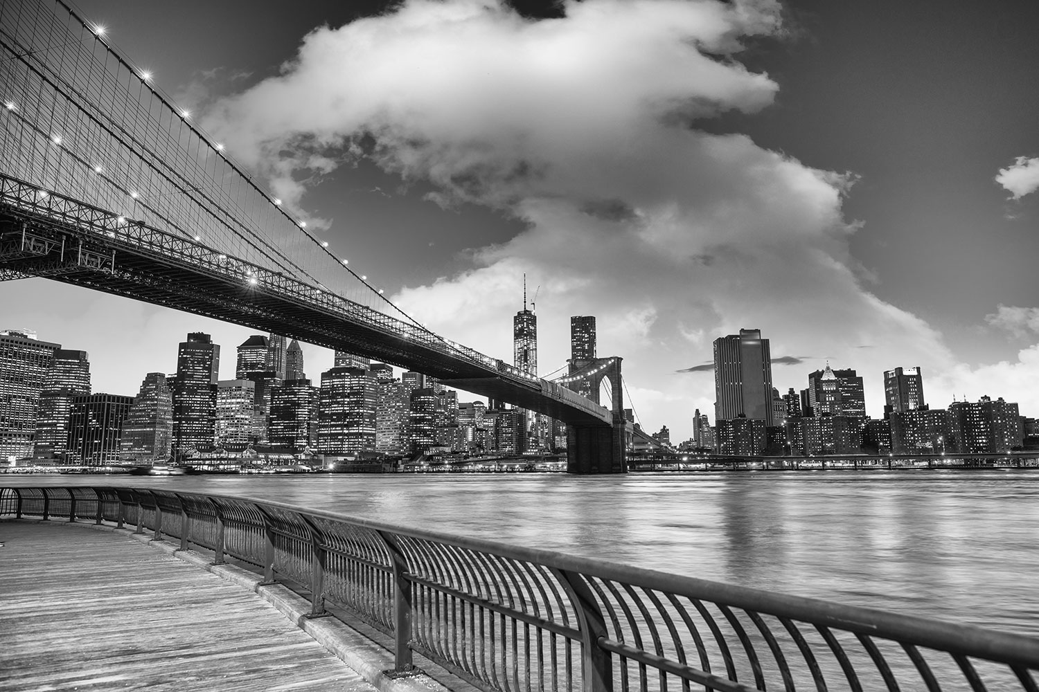 Fototapet Skyline Black And White Photography Brooklyn Bridge NY