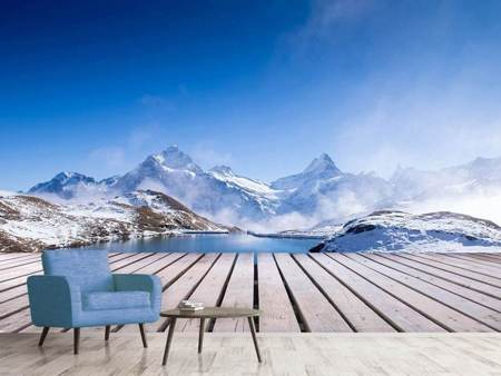 Fototapet Sundeck At The Swiss Mountain Lake